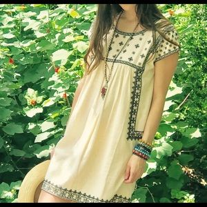 Ivy Jane Boho Cream/Black Embroidered Tunic Dress